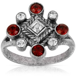 Pewter Crystal Diamond Shaped Ring