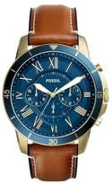 Fossil Grant Chronograph Leather Strap Watch, 44mm