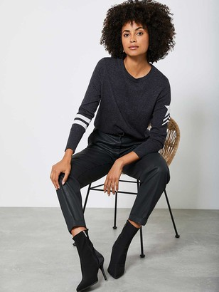 Mint Velvet Military Long Sleeve Top - Charcoal Grey
