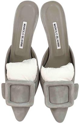 Manolo Blahnik Maysale Grey Suede Sandals