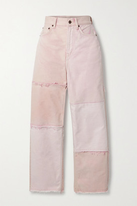 Acne Studios Net Sustain 1993 Frayed Patchwork Organic High-rise Straight-leg Jeans - Pink