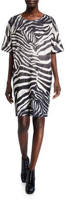 Natori Serengeti Zebra-Print Short-Sleeve T-Shirt Dress