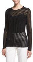 Escada Long-Sleeve Needle-Drop Pullover Top W/Cami, Black