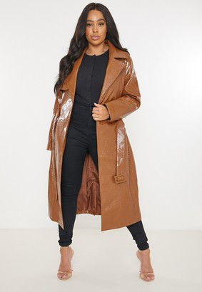 Missguided Plus Size Brown Croc Faux Leather Trench Coat