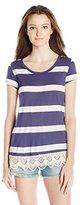 Jolt Women's Short Sleeve Stripe Tunic with Lace Hem