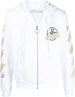 Off-White Tape logo zip-up hoodie