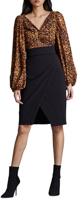 Toccin Blouson-Sleeve Faux Wrap Sheath Dress