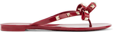 Valentino Garavani The Rockstud Rubber Sandals - Burgundy