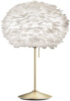 EOS Umage UMAGE - Medium White Feather With Brushed Brass Stand Table Lamp - White/Gold