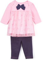 Bon Bebe Pink & Navy Bow Babydoll Dress & Jeggings