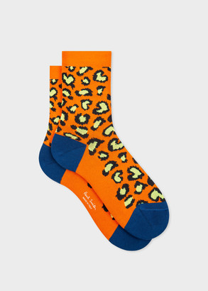 Paul Smith Women's Orange 'Leopard' Socks