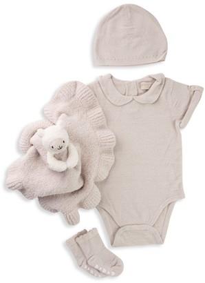 Barefoot Dreams Baby Girl's CozyChic 4-Piece Eyelet Bodysuit, Beanie, Socks & Buddie Bundle