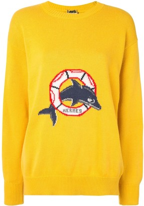 Hermes Pre-Owned Dolphin Intarsia Jumper