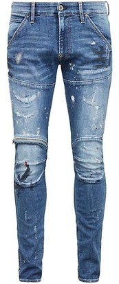 G Star Zip Knee 3D Paint Splatter Skinny Jeans
