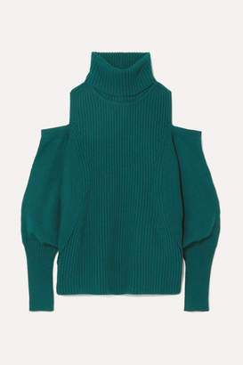 Antonio Berardi Cold-shoulder Ribbed Wool And Cashmere-blend Turtleneck Sweater - Petrol