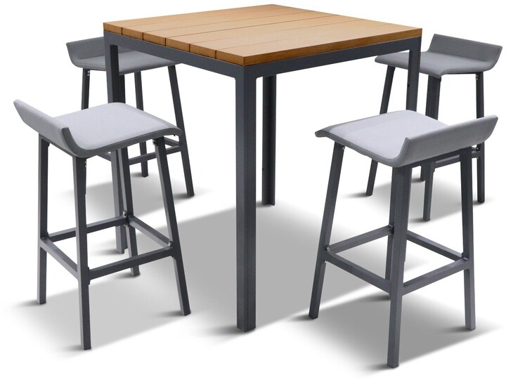 Thumbnail for your product : LG Outdoor Siena 4-Seat Wood-Effect High Garden Dining Table & Bar Stools Set, Grey