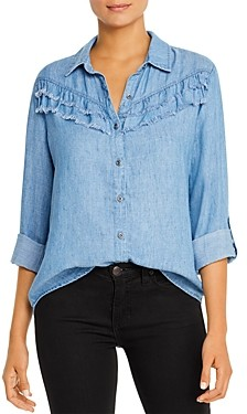 BILLY T Frayed-Ruffle Chambray Shirt