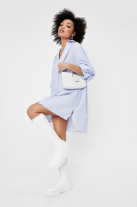 Nasty Gal Womens I'm Your Stripe Petite Puff Sleeve Shirt Dress - Blue