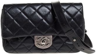 Chanel Black Quilted Goatskin Leather Double Carry Waist Flap Bag