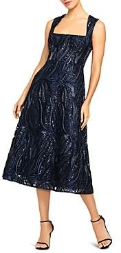 Aidan Mattox Sequin Fit-and-Flare Midi Dress