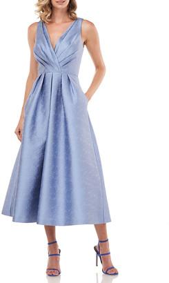 Kay Unger New York Olivia Textured Jacquard Sleeveless Midi Dress