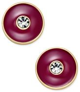 Kate Spade Set In Stone Gold-Tone Crystal Center Round Stud Earrings