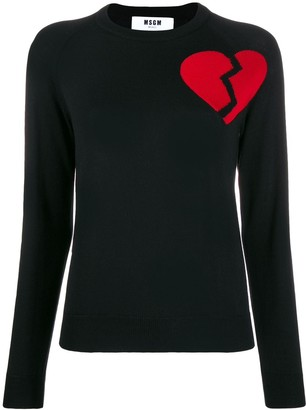 MSGM Broken Heart Motif Jumper