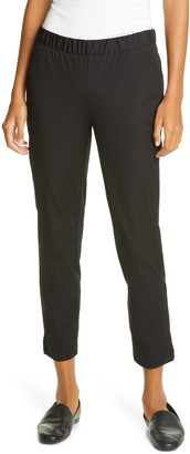 Eileen Fisher Slim Organic Cotton Twill Ankle Pants