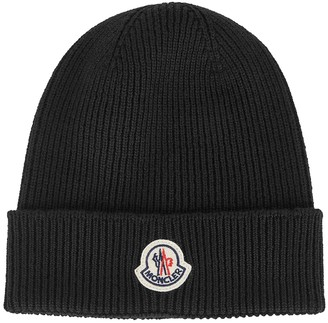Moncler Black Ribbed Wool Beanie