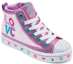 Skechers Big Girls Flip Kicks Twi-Lites 2.0 - Lilac Love High Top Casual Sneakers from Finish Line
