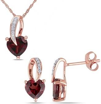 Miadora 10k Rose Gold Heart-cut Garnet and diamond Loop Drop Necklace and Earrings Set