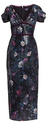 Marchesa Notte Sequin Print Floral Sheath Dress