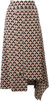 Marni Portrait print asymmetric skirt - women - Silk - 40