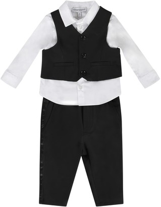 Armani Collezioni Black And White Suit For Baby Boy With Iconic Eagle