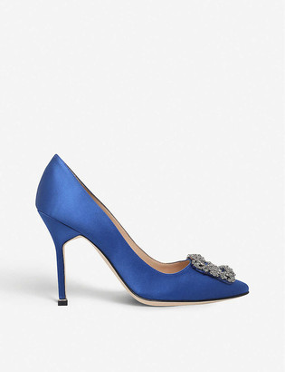 Manolo Blahnik Hangisi 105 buckle-embellished satin courts
