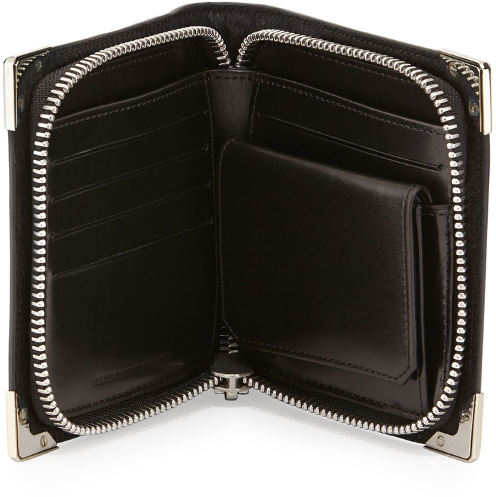 Alexander Wang Prisma Compact Calf-Hair Wallet, Black/Rhodium