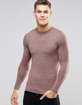 Asos Muscle Fit Crew Neck Jumper In Pink And Grey Twist Cotton