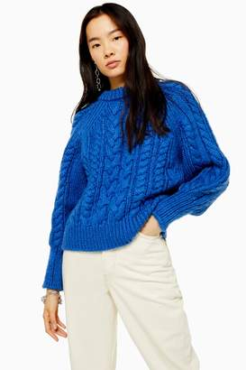 Topshop Blue Knitted Cable Raglan Jumper