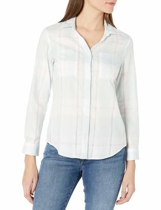 Pendleton Women's Petite Rockaway Cotton Check Shirt Pastel Blue Small