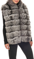 Gorski Horizontal Silver Fox Fur Block Vest
