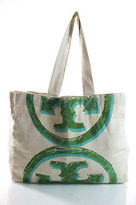 Tory Burch White Canvas Logo Open Top Beach Totes Large