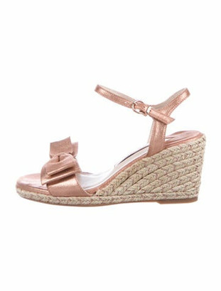 Sophia Webster Leather Bow Accents Espadrilles Metallic