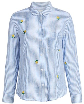 Rails Charli Floral Embroidered Stripe Button-Down Shirt