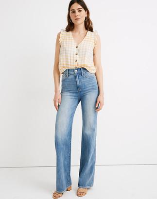 """Madewell Petite 11"""" High-Rise Flare Jeans in Arbordale Wash"""