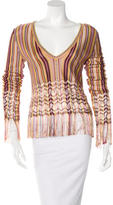 Christian Dior Fringe-Accent Stripe Print Sweater