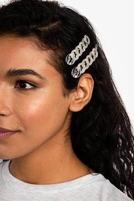 Freedom Womens **Rhinestone Chain Hair Slide Clips - Clear