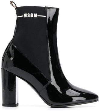 MSGM Elasticated Sides Varnished Boots