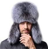 Gegefur Men's Fox Fur &eather Trapper Hats Raccoon hat Siver fox hat (back)