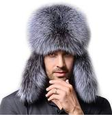 Gegefur Men's Fox Fur &eather Trapper Hats Raccoon hat Siver fox hat (siver)
