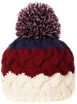 Siggi Womens Soft Acrylic Knit Pom Beanie Cap Hat Winter 2 Layers Fleece Lined Burgundy